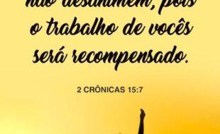 Mas, seja, fortes e não desanime. pois o trabalho de vocês será recompensado. 2 Crônicas 15,7